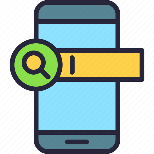 app, bar, magnifying glass, mobile, phone, search icon