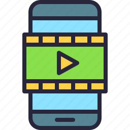 app, clip, gallery, mobile, movie, player, video icon