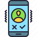incoming, mobile, app, vibrating, accept, call, user icon