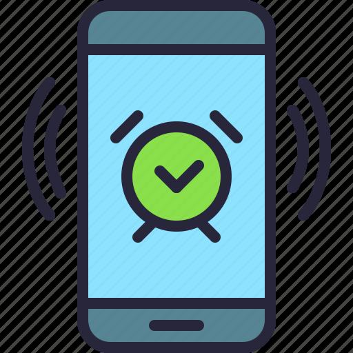 alarm, app, clock, mobile, phone, vibrating icon