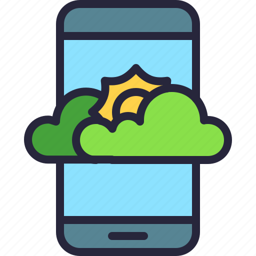 app, cloud, mobile, partially, rain, sun, weather icon