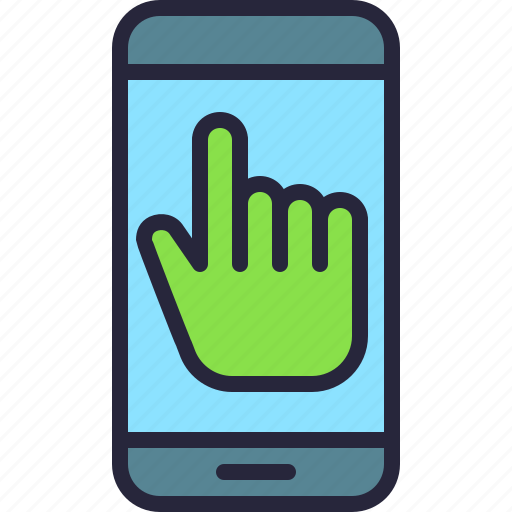 app, finger, hand, mobile, phone, screen, touch icon