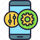 mobile, app, adjustments, phone, controller, configuration, options icon