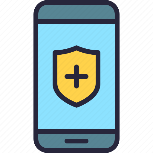 app, health, mobile, phone, protection, security, shield icon