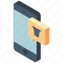 delete, function, iso, isometric, message, mobile, smart phone icon