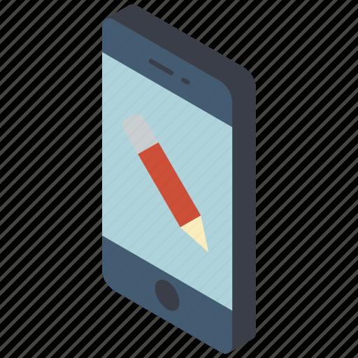 edit, function, functions, iso, isometric, mobile, smart phone icon