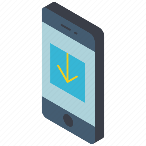 download, function, functions, iso, isometric, mobile, smart phone icon
