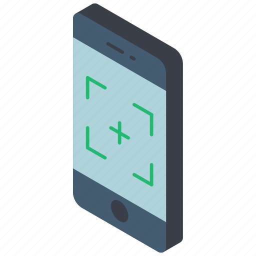 camera, function, functions, iso, isometric, mobile, smart phone icon