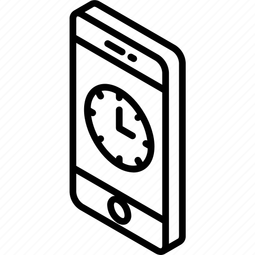 clock, device, function, iso, isometric, smartphone icon