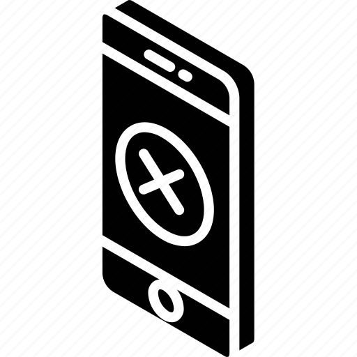 decline, device, function, iso, isometric, smartphone icon