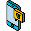 delete, device, function, iso, isometric, message, smartphone icon