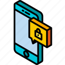 device, function, iso, isometric, locked, message, smartphone icon