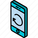 device, function, iso, isometric, phone, refresh, smartphone icon