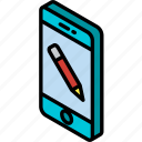 device, edit, function, iso, isometric, smartphone icon