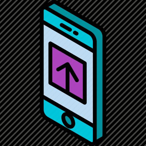 device, function, iso, isometric, smartphone, upload icon
