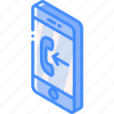 function, isometric, smartphone, incoming, iso, device icon