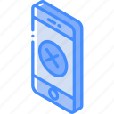 decline, device, function, iso, isometric, smartphone icon