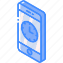 clock, device, function, iso, isometric, smartphone icon