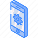 device, function, iso, isometric, settings, smartphone icon