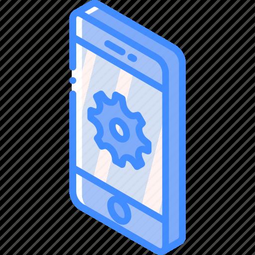 device, function, iso, isometric, settings, smartphone icon