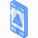 alert, device, function, iso, isometric, smartphone icon