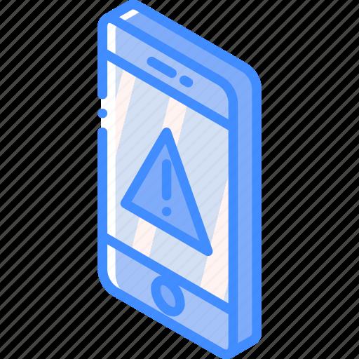 alert, device, function, iso, isometric, smartphone icon