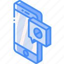 device, function, iso, isometric, message, not, sent, smartphone icon
