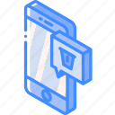 function, isometric, smartphone, iso, device, message, delete icon
