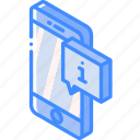 device, function, info, iso, isometric, message, smartphone icon