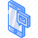 device, function, iso, isometric, message, smartphone, sms icon