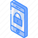 device, function, iso, isometric, locked, phone, smartphone icon