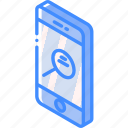 device, function, iso, isometric, phone, search, smartphone icon