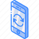device, function, iso, isometric, phone, smartphone, syncing icon
