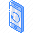 function, isometric, smartphone, refresh, phone, iso, device icon