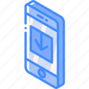 device, download, function, iso, isometric, smartphone icon