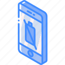 battery, dead, device, function, iso, isometric, smartphone icon