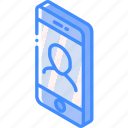 device, function, iso, isometric, male, smartphone, user icon