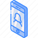 device, female, function, iso, isometric, smartphone, user icon