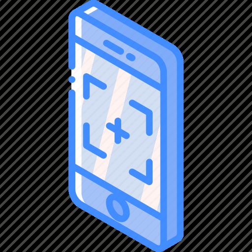 camera, device, function, iso, isometric, smartphone icon