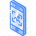 device, function, image, iso, isometric, smartphone icon