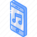 device, function, iso, isometric, music, smartphone icon