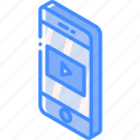device, function, iso, isometric, media, smartphone icon