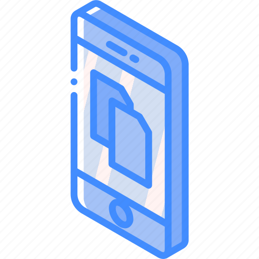 device, documents, function, iso, isometric, smartphone icon