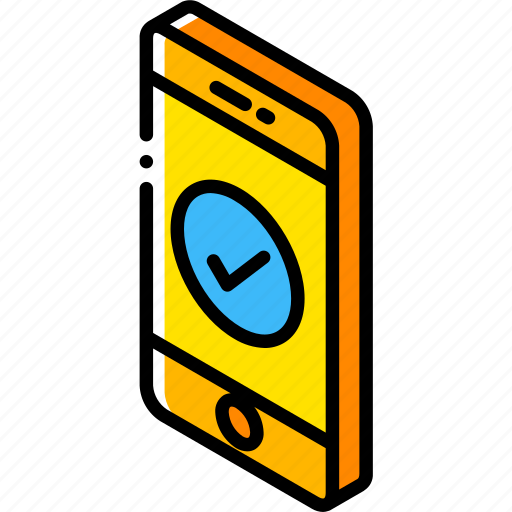 accept, device, function, iso, isometric, smartphone icon
