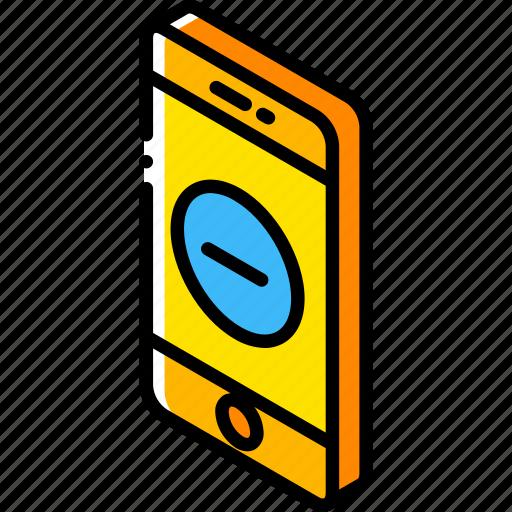 device, function, iso, isometric, remove, smartphone icon