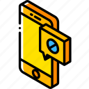 device, function, iso, isometric, message, sent, smartphone icon