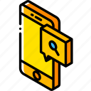 device, find, function, iso, isometric, message, smartphone icon