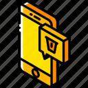delete, device, function, iso, isometric, message, smartphone icon