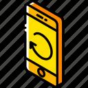 device, function, iso, isometric, phone, refresh, smartphone