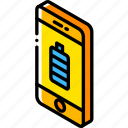 battery, device, function, iso, isometric, smartphone icon